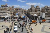 Busy street of the old Sanaa city, Yemen.