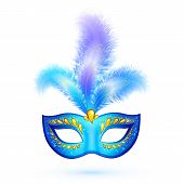 Blue isolated carnival mask with feathers