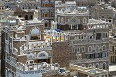 Exterior of the traditional decorated buildings of Sanaa city, Yemen.