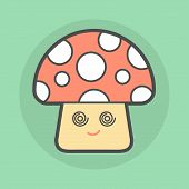 Cute Magic Mushroom With Spiral Eyes