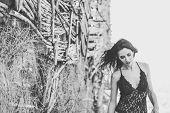 Woman In Underwear In A Forest