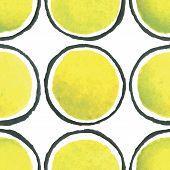 hand paint watercolor circles  polka dot seamless pattern