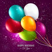 stock photo of balloon  - Birthday card with balloons and stars on galaxy background - JPG