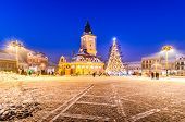 Brasov, Romania with an old Christmas tree