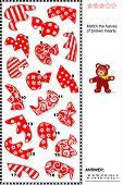 Valentine puzzle - match the halves of broken hearts