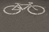 picture of traffic sign  - Asphalt road with cycle track and bike sign - JPG