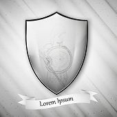 Spartan image. Metal shield on dirty gray background. Vector format