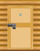 Wall with door on lock