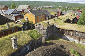 View to the traditional houses of the copper mines town of Roros Norway.