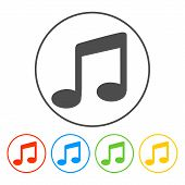 music Flat Simple Icon, isolated on white background