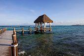 picture of yucatan  - wooden dock at the caribbean sea at Yucatan Peninsula - JPG