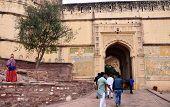 Jodhpur, India - January 1, 2015: Unidentified People Walk Through A Gate At Mehrangarh Fort