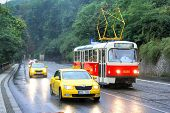 Tatra T3R And Taxi Cars