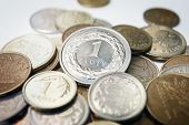 picture of lien  - close up of Polish zloty coins, currency