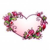 Vector illustration with heart and cartoon flowers
