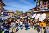 KYOTO, JAPAN - APRIL 1, 2014: Spring crowds in the Higashiyama district. Higashiyama is home to many of the well known temples of Kyoto.