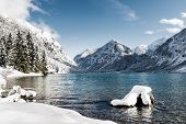 idyllic cold lake at snow mountain landscape in winter scenery