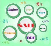 Advertising label with white circles with text - sale, premium, top, best, choice, big, offer, 25, 7