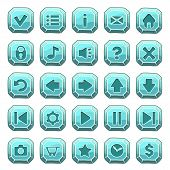 Set Of Blue Stone Square Buttons, Vector Game Icons