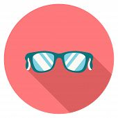 Round Flat Colour Sunglasses Icon With Shadow