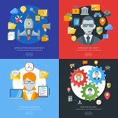 Flat design concept for application development, internet security, time management, team building.