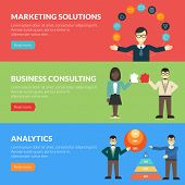Flat design concept for marketing solutions, business consulting, analytics. Vector illustration for