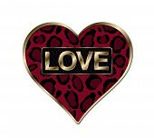 stock photo of san valentine  - Red animal print heart with gold metal frame around outside - JPG