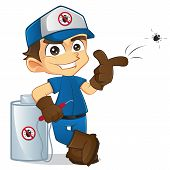 image of toxic substance  - Cartoon illustration of a cute exterminator - JPG