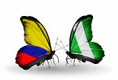 Two Butterflies With Flags On Wings As Symbol Of Relations Columbia And Nigeria
