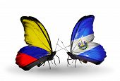 Two Butterflies With Flags On Wings As Symbol Of Relations Columbia And Salvador