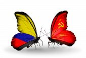 Two Butterflies With Flags On Wings As Symbol Of Relations Columbia And  Soviet Union