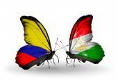Two Butterflies With Flags On Wings As Symbol Of Relations Columbia And Tajikistan