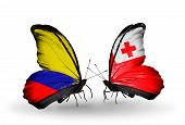 Two Butterflies With Flags On Wings As Symbol Of Relations Columbia And  Tonga