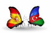 Two Butterflies With Flags On Wings As Symbol Of Relations Spain And Azerbaijan