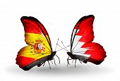 Two Butterflies With Flags On Wings As Symbol Of Relations Spain And Bahrain