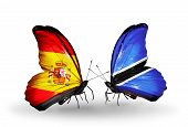 Two Butterflies With Flags On Wings As Symbol Of Relations Spain And Botswana