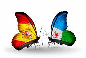 Two Butterflies With Flags On Wings As Symbol Of Relations Spain And Djibouti