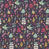 Floral seamless pattern with cartoon swallow birds. Awesome background in modern colors