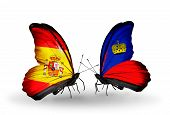 Two Butterflies With Flags On Wings As Symbol Of Relations Spain And Liechtenstein