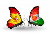 Two Butterflies With Flags On Wings As Symbol Of Relations Spain And Niger