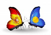 Two Butterflies With Flags On Wings As Symbol Of Relations Spain And Palau