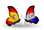 Two Butterflies With Flags On Wings As Symbol Of Relations Spain And Paraguay