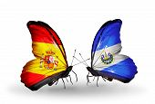 Two Butterflies With Flags On Wings As Symbol Of Relations Spain And Salvador