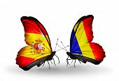 Two Butterflies With Flags On Wings As Symbol Of Relations Spain And Chad, Romania