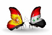 Two Butterflies With Flags On Wings As Symbol Of Relations Spain And Syria