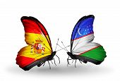 foto of spanish money  - Two butterflies with flags on wings as symbol of relations Spain and Uzbekistan - JPG
