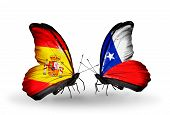 picture of spanish money  - Two butterflies with flags on wings as symbol of relations Spain and Chile - JPG