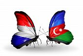Two Butterflies With Flags On Wings As Symbol Of Relations Holland And Azerbaijan