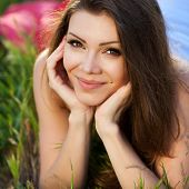 picture of up-skirt  - Portrait of a young beautiful brunette with long straight hair - JPG