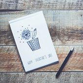 Paper Sketch Book With Hand-drown Flower. Happy Valentines! Vintage Wooden Background